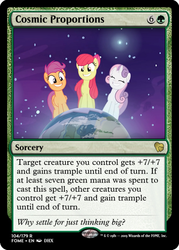 Size: 375x523 | Tagged: safe, edit, edited screencap, screencap, apple bloom, scootaloo, sweetie belle, pony, growing up is hard to do, being big is all it takes, ccg, female, magic the gathering, mare, older, older apple bloom, older cmc, older scootaloo, older sweetie belle, planet, pony bigger than a planet, space, stars, trading card, trading card edit