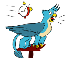 Size: 1300x1000 | Tagged: alarm clock, artist:horsesplease, behaving like a bird, behaving like a rooster, clock, crowing, derp, gallus, gallus the rooster, majestic as fuck, perching, safe, smiling, stupid