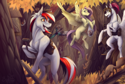 Size: 1486x1000 | Tagged: artist:sunny way, autumn, autumn forest, bird, bullfinch, competition, earth pony, fanart, feather, feeder, female, fluttershy, foliage, food, forest, hammer, happy, magpie, mare, missing cutie mark, oc, oc:rifey, oc:sunny way, open mouth, pegasus, pony, rcf community, safe, squirrel, tit, titmouse, tree, waxwings, woodpecker