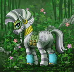 Size: 1500x1458 | Tagged: safe, artist:jenery, zecora, zebra, alternate timeline, butt, chrysalis resistance timeline, flower, jungle, looking at you, looking back, looking back at you, plot, resistance leader zecora, signature, smiling, solo, zecorass