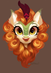 Size: 5209x7367 | Tagged: safe, artist:sofiko-ko, autumn blaze, kirin, awwtumn blaze, brown background, bust, cute, ear fluff, female, looking at you, open mouth, portrait, simple background, smiling, solo