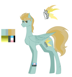 Size: 5484x5890 | Tagged: absurd res, artist:moonlight0shadow0, ear piercing, earring, eyebrow piercing, icey-verse, jewelry, magical lesbian spawn, male, oc, oc:jasper (ice1517), oc only, offspring, parent:lightning dust, parent:limestone pie, parents:limedust, pegasus, piercing, pony, redesign, reference sheet, safe, scar, simple background, solo, stallion, trans boy, transgender, transgender pride flag, transparent background, wristband