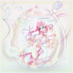 Size: 2000x2000 | Tagged: safe, artist:alexbluebird, fluttershy, pegasus, pony, bright, chest fluff, ear fluff, female, holding, looking at you, mare, solo, spread wings, teabag, teapot, three quarter view, underwater, unshorn fetlocks, water, wings