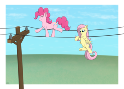 Size: 3429x2449 | Tagged: artist:davinciwolf, duo, earth pony, eyes closed, female, fluttershy, mare, pegasus, pinkie pie, pony, power line, safe, smiling, telephone pole, this will end in electrocution, this will not end well, tightrope