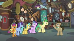 Size: 2100x1178 | Tagged: safe, screencap, citrine spark, doctor whooves, fire quacker, huckleberry, november rain, smolder, starlight glimmer, time turner, dragon, earth pony, pegasus, pony, unicorn, a horse shoe-in, spoiler:s09e20, doctor whooves' lab, dragoness, female, flameless fireworks, friendship student, laboratory, magic, magic aura, male, mare, stallion, telekinesis