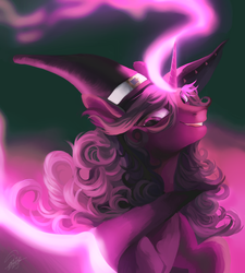Size: 3000x3327 | Tagged: artist:orfartina, bust, commission, hat, high res, oc, oc only, pony, portrait, safe, smiling, solo, unicorn, witch hat