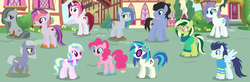 Size: 2585x843 | Tagged: safe, artist:razorbladetheunicron, cayenne, dj pon-3, limestone pie, marble pie, pinkie pie, soarin', vinyl scratch, oc, oc:confetti balloon, oc:frozen aurora, oc:keyana crust, oc:obsidian pie, oc:pecan pie, oc:smokey whistle, earth pony, pegasus, pony, unicorn, lateverse, base used, bow, clothes, face markings, female, group, headband, headphones, lesbian, limin', magical lesbian spawn, male, marbenne, mare, next generation, offspring, parent:cayenne, parent:limestone pie, parent:marble pie, parent:pinkie pie, parent:soarin', parent:vinyl scratch, parents:limin', parents:marbenne, parents:vinylpie, ponyville, shipping, stallion, straight, sweater, unshorn fetlocks, vinylpie