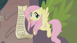 Size: 1600x900 | Tagged: safe, screencap, fluttershy, pegasus, pony, she talks to angel, bags under eyes, checklist, female, flying, frazzled, keychain, list, mare, mouth hold, paper, pencil, solo, tree