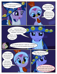 Size: 612x792 | Tagged: animal costume, artist:newbiespud, chicken pie, chicken suit, cloak, clothes, comic, comic:friendship is dragons, confused, costume, dialogue, earth pony, edit, edited screencap, fake beard, female, fluttershy, frown, hat, luna eclipsed, mare, pegasus, pinkie pie, pony, safe, screencap, screencap comic, smiling, star swirl the bearded costume, twilight sparkle, unicorn, unicorn twilight, wizard hat