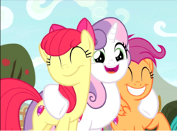 Size: 1046x774 | Tagged: safe, screencap, apple bloom, scootaloo, sweetie belle, earth pony, pegasus, pony, unicorn, growing up is hard to do, adorabloom, cropped, cute, cutealoo, cutie mark, cutie mark crusaders, diasweetes, excited, eyes closed, female, happy, hug, mare, older, older apple bloom, older cmc, older scootaloo, older sweetie belle, smiling, the cmc's cutie marks, trio