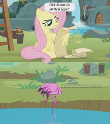 Size: 1364x1526 | Tagged: safe, edit, edited screencap, screencap, angel bunny, fluttershy, scout (flamingo), flamingo, pegasus, pony, she talks to angel, body swap, comic, dialogue, door, female, lake, list, mare, not fluttershy, onomatopoeia, screencap comic, scroll, sleeping, snoring, sound effects, speech bubble, sweet feather sanctuary, tire swing, waterfall, zzz