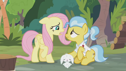 Size: 1366x768 | Tagged: safe, screencap, angel bunny, doctor fauna, fluttershy, earth pony, pegasus, pony, rabbit, she talks to angel, animal, body swap, exhausted, female, frazzled, lying down, male, mare, sad, tired, trio