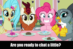 Size: 2000x1344 | Tagged: safe, autumn blaze, gabby, pinkie pie, princess skystar, griffon, hippogriff, kirin, pony, my little pony: the movie, awwtumn blaze, caption, cute, diapinkes, donut, food, gabbybetes, introvert's nightmare, looking at you, meme, skyabetes, text, that kirin sure does love talking, this will end in insanity