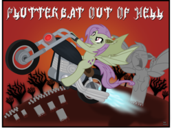 Size: 2341x1749 | Tagged: album cover, album parody, angry, artist:anime-equestria, badass, bat ears, bat out of hell, bat ponified, bat pony, bat wings, engine, fangs, female, flutterbadass, flutterbat, fluttershy, grass, graveyard, hill, light, meat loaf, motorcycle, race swap, red sky, safe, solo, statue, tree, vector, wings