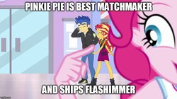 Size: 888x499 | Tagged: safe, artist:mlpfan3991, flash sentry, pinkie pie, sunset shimmer, do it for the ponygram!, equestria girls, equestria girls series, spoiler:eqg series (season 2), converse, female, flashimmer, male, pinkie the shipper, shipping, shoes, straight
