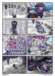 Size: 2550x3507 | Tagged: safe, artist:khaki-cap, oc, oc:zjin-wolfwalker, zebra, comic:coldness, cave, snow, snowstorms, zebra oc