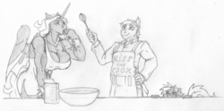 Size: 2800x1391 | Tagged: alicorn, alicorn oc, anthro, apron, artist:siegfriednox, chef, clothes, cooking, earth pony, grayscale, monochrome, oc, oc:blaze of glory, oc:invidia nox, oc:ty the baker, safe, traditional art, unicorn, whisk