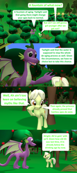 Size: 1920x4320 | Tagged: 3d, adult, adult spike, age progression, age regression, artist:red4567, comic, comic:i must regress, dragon, female, granny smith, male, older, older spike, quadrupedal spike, safe, source filmmaker, spell gone wrong, spike, tree, winged spike, younger, young granny smith