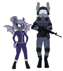 Size: 2225x2533 | Tagged: anthro, artist:moonatik, badge, bat pony, boots, clothes, combat armor, combat helmet, elbow pads, epaulettes, female, galil, gun, hair bun, helmet, knee pads, male, mare, military uniform, night guard, oc, oc:selenite, realistic armor, rifle, safe, shoes, simple background, soldier, stallion, transparent background, unguligrade anthro, uniform, weapon