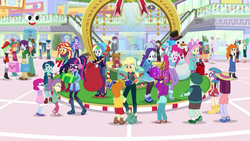 Size: 1280x720 | Tagged: applejack, aqua blossom, background human, bag, boots, canterlot mall, clothes, curly winds, drama letter, earmuffs, equestria girls, equestria girls series, female, fleur-de-lis, fluttershy, frosty orange, garden grove, ginger owlseye, golden hazel, hat, henry handle, holidays unwrapped, humane five, humane seven, humane six, indigo wreath, ink jet, legs, lily longsocks, lily pad (equestria girls), little red, male, manestrum, mint chip, normal norman, orange sunrise, pants, pinkie pie, plusplus, ponytail, present, princess celestia, princess luna, principal celestia, rainbow dash, rarity, safe, sci-twi, scott green, screencap, shoes, shorts, sneakers, snowman, some blue guy, sophisticata, spoiler:eqg series (season 2), sunset shimmer, technicolor waves, teddy bear, track starr, twilight sparkle, vice principal luna, watermelody, winter outfit, wiz kid