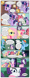 Size: 612x1556 | Tagged: ..., applejack, artist:newbiespud, bathrobe, clothes, comic, comic:friendship is dragons, crown, dialogue, dress, earth pony, edit, edited screencap, female, fluttershy, freckles, grin, hat, jewelry, looking up, mane six, mannequin, mare, pegasus, pinkie pie, pony, rainbow dash, raised hoof, rarity, regalia, robe, saddle bag, safe, screencap, screencap comic, slippers, smiling, twilight sparkle, unicorn, unicorn twilight