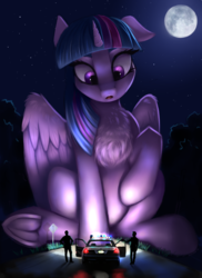 Size: 1900x2612 | Tagged: alicorn, artist:pony-way, chest fluff, female, full moon, giant pony, human, macro, mare, moon, night, night sky, outdoors, people, police, police car, police officer, pony, road, safe, sitting, size difference, sky, stars, story in the comments, twilight sparkle, twilight sparkle (alicorn), underhoof