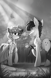 Size: 1346x2043 | Tagged: artist:ramiras, clothes, dress, fanfic art, fanfic:background pony, female, flower, lyra heartstrings, male, monochrome, oc, oc:morning dew, rose, safe, straight