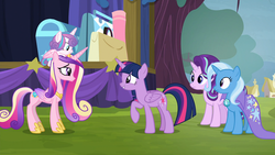 Size: 1920x1080 | Tagged: alicorn, baby, baby pony, female, mare, outdoors, pony, princess cadance, princess flurry heart, road to friendship, safe, screencap, stage, starlight glimmer, trixie, twilight sparkle, twilight sparkle (alicorn), unicorn