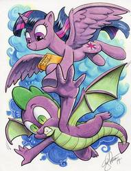 Size: 781x1024   Tagged: safe, artist:andypriceart, spike, twilight sparkle, alicorn, dragon, pony, idw, spoiler:comic, armpits, book, duo, female, flying, learning to fly, male, mare, marker drawing, smiling, song reference, tom petty, tom petty & the heartbreakers, traditional art, twilight sparkle (alicorn), winged spike, wings