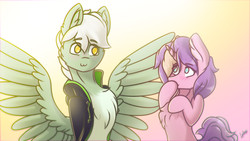 Size: 1920x1080 | Tagged: safe, artist:chebypattern, oc, oc only, oc:energytone, oc:lilac clime, pegasus, pony, unicorn, bright, clothes, couple, cute, gift art, jacket, lovely, simple background, smiling