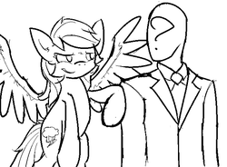 Size: 639x471 | Tagged: artist:visiti, black and white, bump, clothes, female, flying, grayscale, human, lineart, looking at each other, male, mare, /mlp/, monochrome, necktie, oc, oc:anon, pegasus, pony, rainbow dash, safe, simple background, sketch, spread wings, suit, tapping, white background, wings