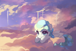 Size: 3000x2000 | Tagged: artist:freeedon, cloud, commission, cute, female, folded wings, looking at you, lying down, mare, on a cloud, pegasus, pony, prone, safe, scenery, sky, smiling, solo, three quarter view, vaporbetes, vapor trail, wings