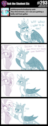 Size: 800x2083 | Tagged: ..., arrow, artist:sintakhra, boop, female, gallus, gallus is not amused, griffon, hippogriff, male, no, pushing, safe, silverstream, smiling, smirk, squeak, tumblr:studentsix, unamused