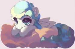 Size: 1915x1246 | Tagged: alternate version, artist:freeedon, cloud, commission, female, looking at you, lying down, mare, on a cloud, pegasus, pony, safe, smiling, solo, sticker, vapor trail