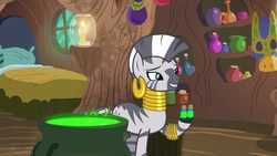 Size: 1920x1080 | Tagged: safe, screencap, zecora, zebra, she talks to angel, bed, candle, cauldron, ear piercing, earring, female, jewelry, leg rings, mare, neck rings, piercing, potion, solo, vial, zecora's hut