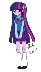 Size: 1280x2276 | Tagged: adorkable, artist:iamsheila, clothes, cute, dork, equestria girls, female, human, leg warmers, miniskirt, moe, pleated skirt, safe, shoes, skirt, smiling, sweater vest, twiabetes, twilight sparkle