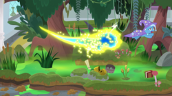 Size: 2000x1123 | Tagged: a horse shoe-in, bee, cape, cattails, clothes, female, flash bee, hat, insect, leaping, mare, mushroom, pony, safe, screencap, spoiler:s09e20, swamp, swarm, tree, trixie, trixie's cape, trixie's hat, unicorn