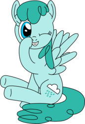 Size: 693x1006 | Tagged: artist:solarcis, boop, female, looking at you, mare, one eye closed, pegasus, pony, safe, self-boop, simple background, sitting, solo, spread wings, spring melody, sprinkle medley, transparent background, wings, wink