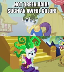 Size: 600x676 | Tagged: safe, edit, edited screencap, screencap, humdrum, mane-iac, rarity, pony, boast busters, dragon dropped, spoiler:s09e19, book, cart, clothes, comic book, cosplay, costume, green hair, merchandise, power ponies, scroll, stairs, teary eyes, tired, twilight's castle, waterfall