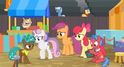 Size: 1600x862 | Tagged: animation error, apple bloom, biscuit, bleachers, box, chest, cutie mark, cutie mark crusaders, dust cloud, growing up is hard to do, missing wing, mr. food, neckerchief, older, older apple bloom, older cmc, older scootaloo, older sweetie belle, safe, scootaloo, screencap, spoiler:s09e22, spur, stool, sweetie belle, table, the cmc's cutie marks, upset