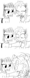 Size: 1250x3158 | Tagged: artist:chopsticks, bowtie, cartoon physics, cheek fluff, chest fluff, clothes, comic, dress, ear fluff, earth pony, female, funny, hoof fluff, mare, maud pie, monochrome, pinkie being pinkie, pinkie physics, pinkie pie, pony, safe, siblings, sisters, sketch, smiling, spinning