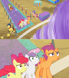 Size: 1600x1790 | Tagged: apple bloom, bloofy, bonnie rose, carpet, comic, cutie mark, cutie mark crusaders, dust cloud, edit, edited screencap, fleeing, growing up is hard to do, nervous, older, older apple bloom, older cmc, older scootaloo, older sweetie belle, running away, safe, scootaloo, screencap, screencap comic, spoiler:s09e22, stool, surprised, sweetie belle, table, the cmc's cutie marks, tornado, twister, windy
