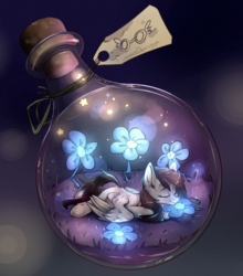 Size: 1280x1456 | Tagged: safe, artist:lonerdemiurge_nail, oc, oc only, pegasus, pony, bottle, cute, flower, glow, micro, pony in a bottle, solo, tiny, tiny ponies, ych result