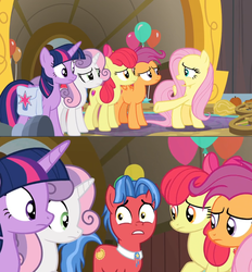 Size: 1600x1726 | Tagged: alicorn, apple bloom, balloon, biscuit, comic, cutie mark crusaders, edit, edited screencap, fluttershy, growing up is hard to do, nervous, older, older apple bloom, older cmc, older scootaloo, older sweetie belle, saddle bag, safe, scootaloo, screencap, screencap comic, spoiler:s09e22, stare, sweetie belle, twilight sparkle, twilight sparkle (alicorn), wheel
