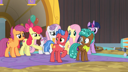 Size: 1600x900   Tagged: safe, screencap, apple bloom, biscuit, fluttershy, scootaloo, spur, sweetie belle, twilight sparkle, alicorn, pony, growing up is hard to do, balloon, cutie mark crusaders, neckerchief, older, older apple bloom, older cmc, older scootaloo, older sweetie belle, twilight sparkle (alicorn)