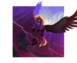 Size: 984x812 | Tagged: abstract background, artist:dearmary, bat, clothes, cloud, costume, flight goggles, flight suit, goggles, lightning, night, oc, oc:blaze (shadowbolt), pegasus, pony, safe, shadowbolts, shadowbolts costume, transparent, yellow mane