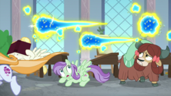 Size: 2000x1121 | Tagged: a horse shoe-in, bee, bow, cloven hooves, cowering, desk, female, flash bee, friendship student, hair bow, insect, mare, pegasus, pony, raised hoof, safe, screencap, spoiler:s09e20, summer breeze, summer meadow, swarm, violet twirl, yak, yona