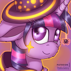 Size: 3000x3000 | Tagged: alicorn, artist:shad0w-galaxy, clothes, costume, fluffy, halloween, halloween costume, hat, high res, holiday, nightmare night, nightmare night costume, patreon, patreon logo, pony, safe, smiling, solo, spider, twilight sparkle, twilight sparkle (alicorn), witch hat