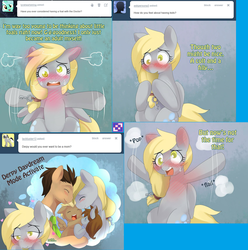 Size: 1702x1716 | Tagged: safe, artist:ende26, derpy hooves, doctor whooves, time turner, oc, pony, lovestruck derpy, blushing, blushing profusely, daydream, doctorderpy, ear blush, female, key, male, offspring, parent:derpy hooves, parent:doctor whooves, parents:doctorderpy, shipping, straight