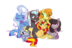 Size: 1280x859 | Tagged: alternate mane six, alternate universe, artist:cubbybatdoodles, carrot top, derpy hooves, ditzy doo, earth pony, female, golden harvest, leonine tail, male, mare, octavia melody, pegasus, pony, safe, simple background, stallion, sunset shimmer, thunderlane, transparent background, trixie, unicorn, unshorn fetlocks
